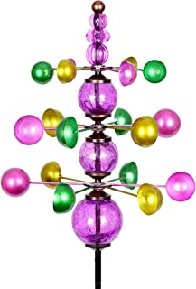 Exhart Colorful Helix Yard Mobile, Three-Tier Vertical Wind Spinners with Purple Glass Crackle Balls Garden Stake – Green, Gold & Purple Garden Spinners - Kinetic Art Decor, 11.5