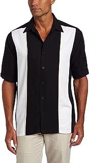 Cubavera Men's Shirt, Short Sleeve Panel Shirt Jet Black