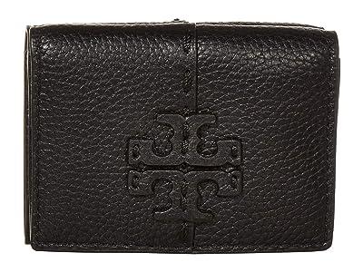Tory Burch McGraw Trifold Mini Wallet (Black) Handbags