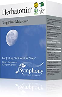 Herbatonin 3mg - The Only Natural Plant Melatonin Natural Sleep Cycle, Body Clock and Circadian Rhythm Support for Jet Lag, Shift Work and General Sleeplessness 60 Vegan Capsules (60 Day Supply)