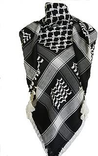 Black Arab Shemagh Head Scarf Neck Wrap Authentic Cottton Palestine Arafat BK-WT