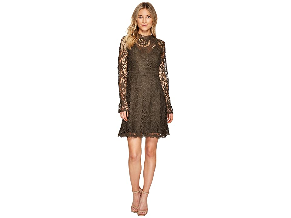CATHERINE Catherine Malandrino All Over Lace High Neck Fitted A-Line Dress (Forest Night) Women