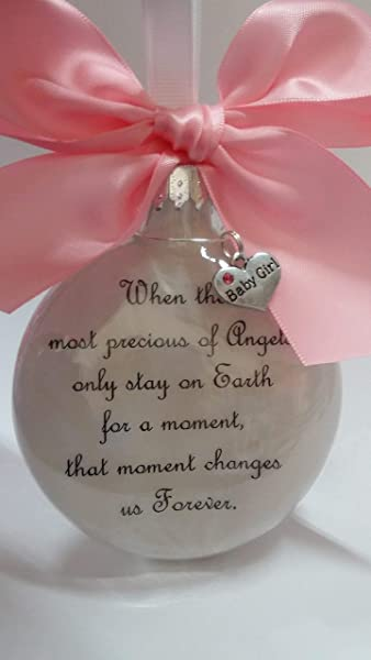Baby Girl Memorial Ornament The Most Precious Of Angels With Charm And Pink Bow In Memory Of Infant Loss Sympathy Gift