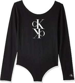 Calvin Klein Women's MIRRORED MONOGRAM BODY L/S T-Shirt, Black, X-Large