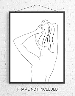 Abstract Female Form Pulling Hair Up Line Art - 11x14 UNFRAMED Minimalist Decor Wall Print of Woman's Body Shape in Black on White