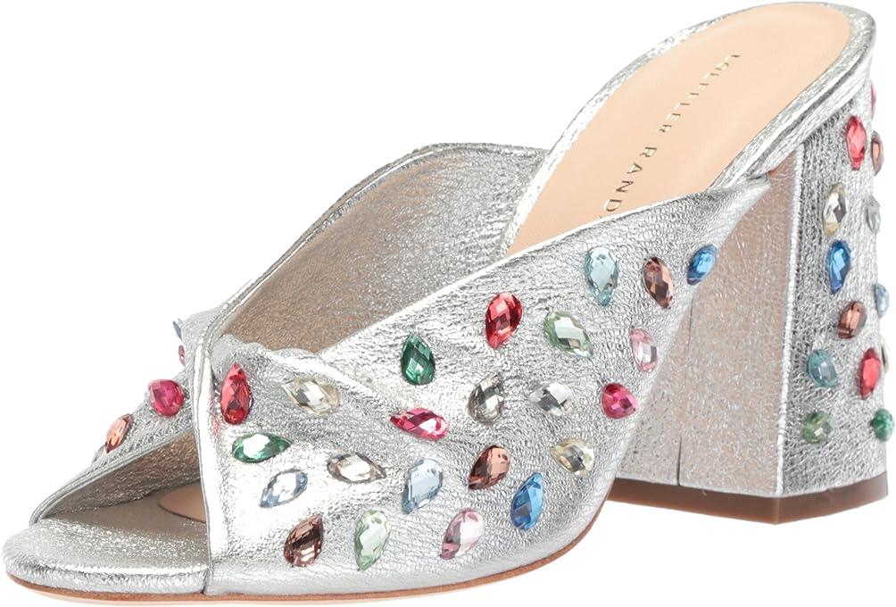 Loeffler Randall Womens Laurel (Crinkle Metallicgem) Silver Size: