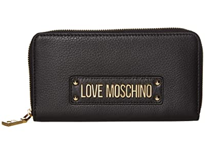 LOVE Moschino Love Logo Zip Wallet (Black Natural Grain Calf) Handbags