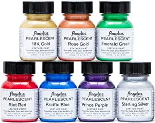 Angelus Leather Paint, Set of 7 Pearlized Colors, 1oz Jars