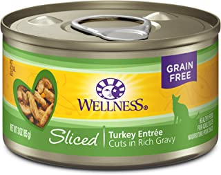 Wellness Natural Grain Free Wet Canned Cat Food Sliced Turkey