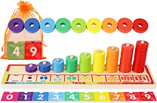 Wooden Stacking Rings and Counting Games with 45 Rings Number Blocks- Counting Ring Stacker-Wooden Sorting Counting Toy fo...
