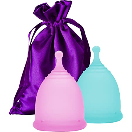 EcoBlossom Menstrual Cups - Set of 2 Reusable Period Cups - Premium Design with Soft, Flexible, Medical-Grade Silicone + 1 Storage Bag (1 Small & 1 Large)