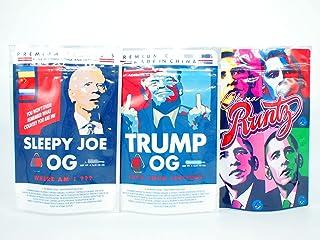 50 PCS Resealable 3.5g Sleepy Joe OG + Trump OG + Obama Mix Bundle Smell Proof Mylar Bags 6x4inch Edibles Packaging Pouch ...