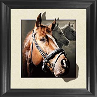 Horse 3D Poster Wall Art Decor Framed Print | 18.5 x 18.5 | Lenticular Posters & Pictures | Memorabilia Gifts for Guys & Girls Bedroom | Natural Wildlife & Barn Animal Fan Picture for Home Walls
