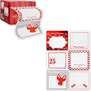 Jumbo Christmas Gift Tag Stickers 60 Count Modern Red, White, Silver, and Gold Xmas Designs - Looks Great on Gifts Presents, Wrapping Paper and Gift Bags.