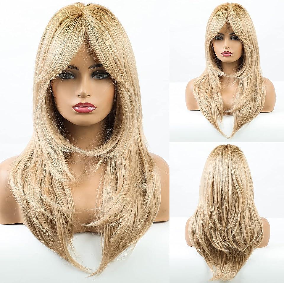 HAIRCUBE Lange lockige blonde synthetische Perücken mit Pony Hitzebeständige Faserhaarperücken für Frauen Party oder täglich