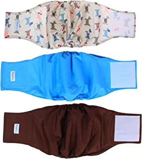 Teamoy Reusable Wrap Diapers for Male Dogs, Washable Puppy Belly Band