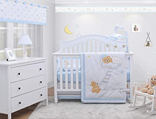 OptimaBaby 6 Piece Baby Nursery Crib Bedding Set, Sweet Dream Moon & Star Teddy Bear, Blue/White/Gray/Yellow/Brown