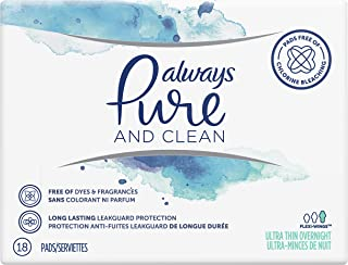 Always Pure & Clean, Ultra Thin Feminine Pads for Women, Overnight Absorbency, with Wings, Unscented, 18 Count- Pack of 3 (54 Count Total)