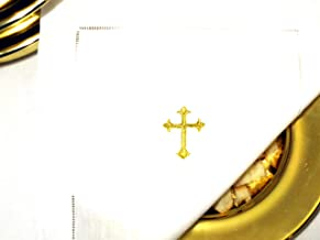 Integrity Designs White Linen Altar Cloth Gold Cross Embroidery