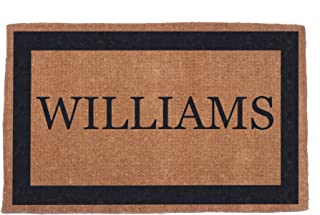 """Coco Mats 'N More Hand Woven Black Single Bordered Personalized Coco Doormat 38"""" x 60"""" 