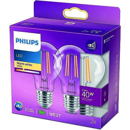 Philips ampoule LED Standard E27 40W Blanc Chaud Claire, Verre, Lot de 2