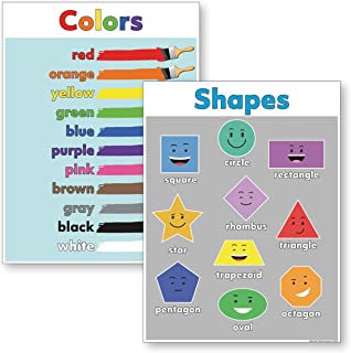 Shapes Poster & Colors Poster (18x24 Laminated) Ideal Preschool Classroom Posters (2 Posters Included))