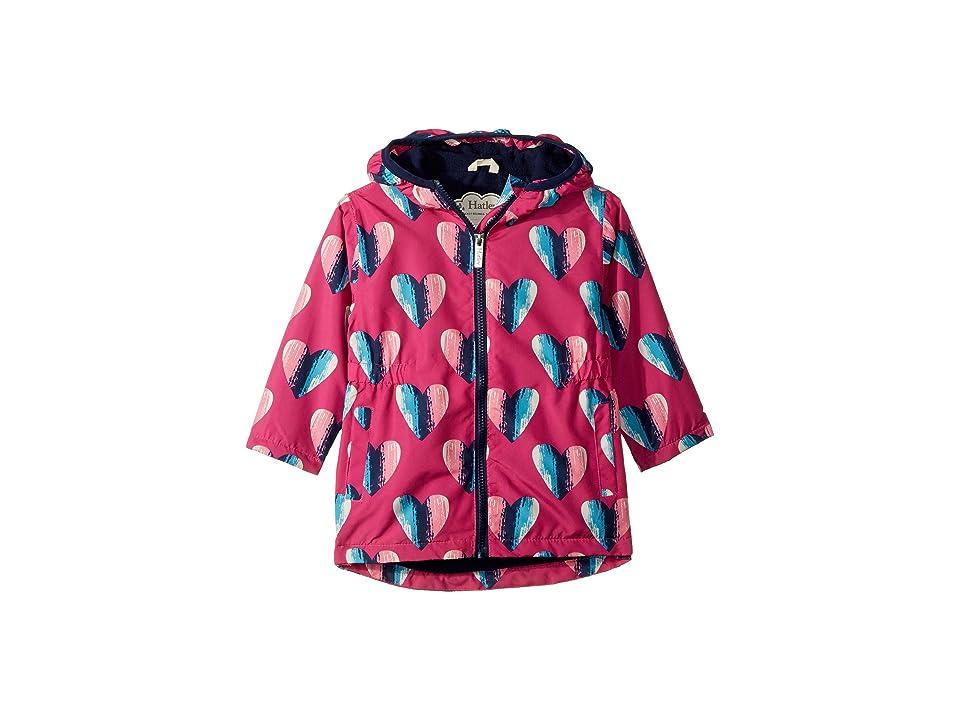 Hatley Kids Hearts Microfiber Rain Jacket (Toddler/Little Kids/Big Kids) (Pink) Girl
