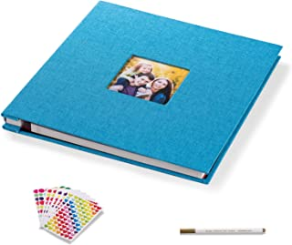 Self Adhesive Photo Album HoneyTolly Magnetic Scrapbook Album Length 11 x Width 10.6 (Inches) 40 Pages Linen Hardcover DIY Memory Anniversary Book with A Metallic Pen and DIY Accessories Kits (Blue)