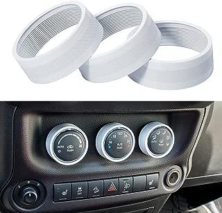 Danti 3pcs Audio Air Conditioning Button Cover Decoration Twist Switch Ring Trim for Jeep Wrangler JK JKU Patriot Liberty 2011-2018 Dodge Challenger 2008-2014 (White)
