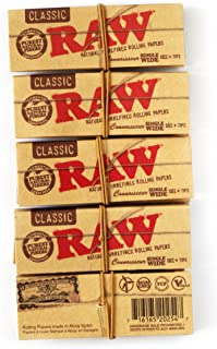 5 x RAW Classic Single Wide 68mm CONNOISSEUR Natural Rolling papers
