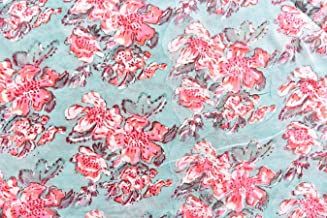Handicraft-Palace Running Outdoor & Sewing Natural Hand Block Floral Printed Fabric (Turquoise _Cotton_1 Meter)