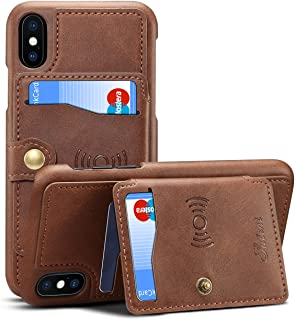 Wallet Leather Case for iPhone Xs 5.8 Apple iPhone X,Leather Cover Credit ID Card Holder Slim Brown Shell