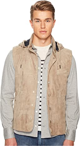 eleventy - Suede Snap Front Vest w/ Removable Hood