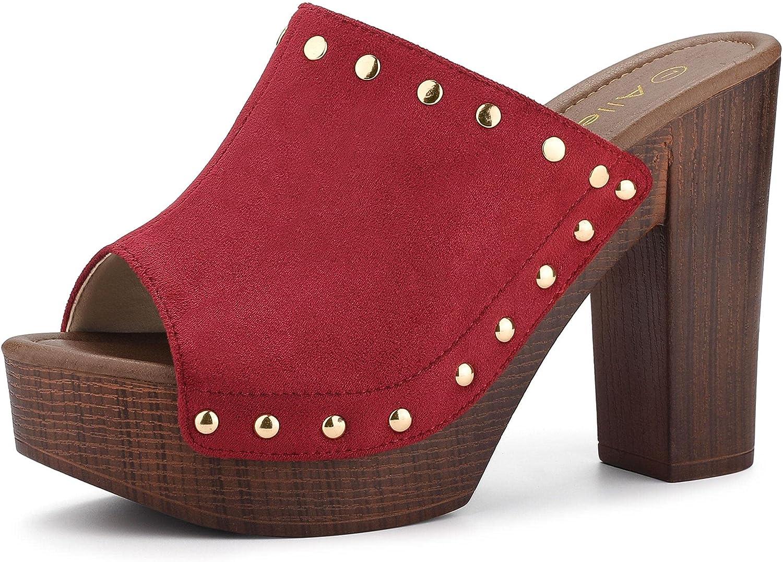 Allegra K Women's Open Toe Platform Block Heel Slides Sandals