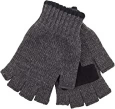 Levi's Men's Heathered Knit Fingerless Gloves, Charcoal/black, One Size