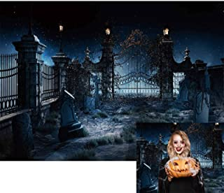 Allenjoy Halloween Horror Night Photography Backdrop Scary Graveyard Tombstone Background for Children Kids Sorcerer Ghost...