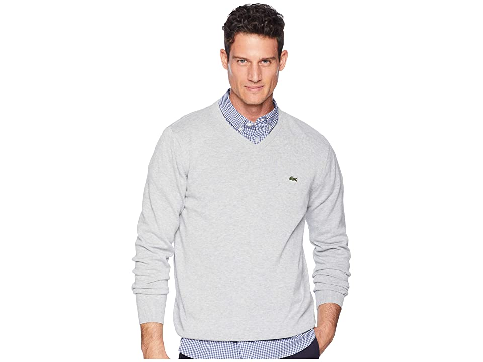 Lacoste Long Sleeve Half Moon V-Neck Jersey Sweater (Pluvier Chine/Flour/Silver) Men