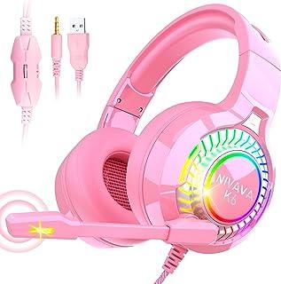 Nivava Auriculares para videojuegos para PS4, Xbox One, auriculares de PC con micrófono con luz LED para Nintendo Switch PS5 Playstation, K6 (rosa)