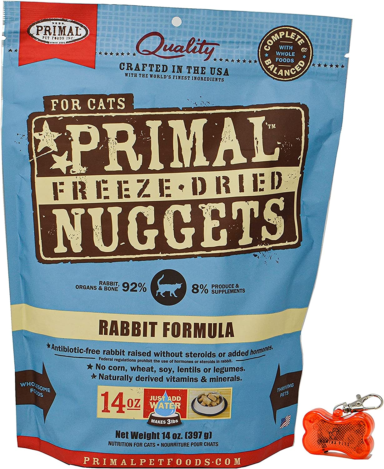Primal Pet Food - Freeze Dried Rabbit Nuggets Cat Food 14oz Bag with WoWing Pets Pendant