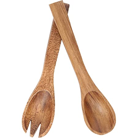 Aoosy 2 Pieces Wooden Salad Servers 10 2 Inches Wood Serving Spoons Set Salad Mixing Dinner Fork And Spoon Long Handle Salad Tongs Kitchen Cooking Utensil Cutlery Set Amazon Co Uk Kitchen Home
