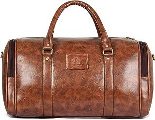 Wayfarer Travel Duffel Bag | 29 ltrs Leatherette Duffle Bag | Weekender Bag-Sand Brown