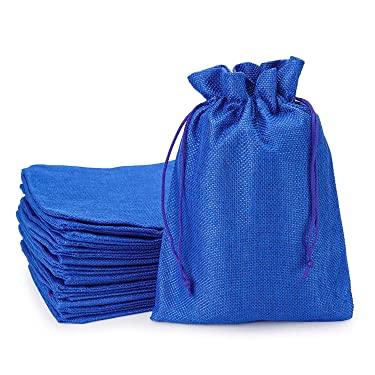 Burlap Bags with Drawstring, EUSOAR 5 x 7 inch Gift Bags 50 pcs, Linen Pouches with Drawstring, Reusable Sacks, Handmade Business Shopping Store Package Present Bags, Birthday Party Pouches-Royal Blue