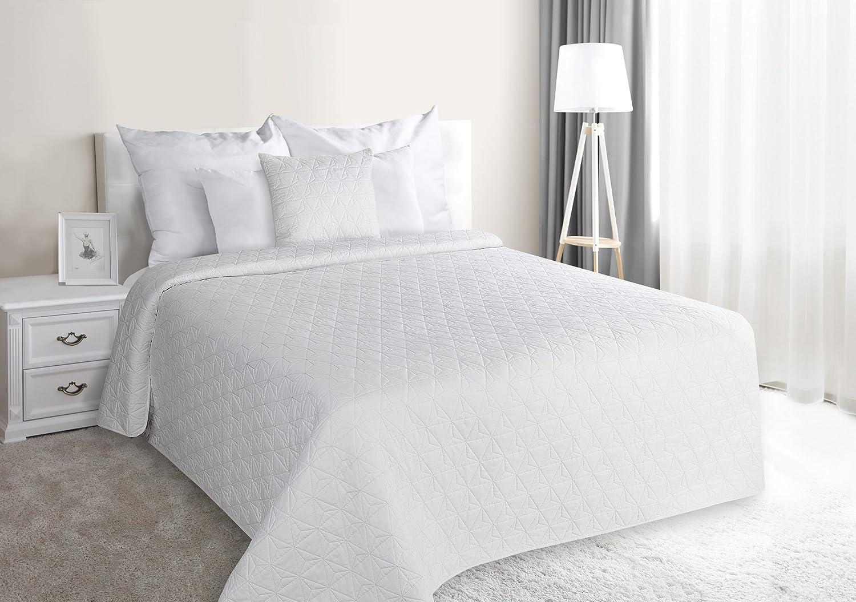 Tagesdecke, Steppdecke Größe  220 cm x 240 cm, Bettüberwurf Bettüberwurf Bettüberwurf Muster Mervin, einfarbig, weiß, geometrische Steppung. B075MBXTFG 1ad512