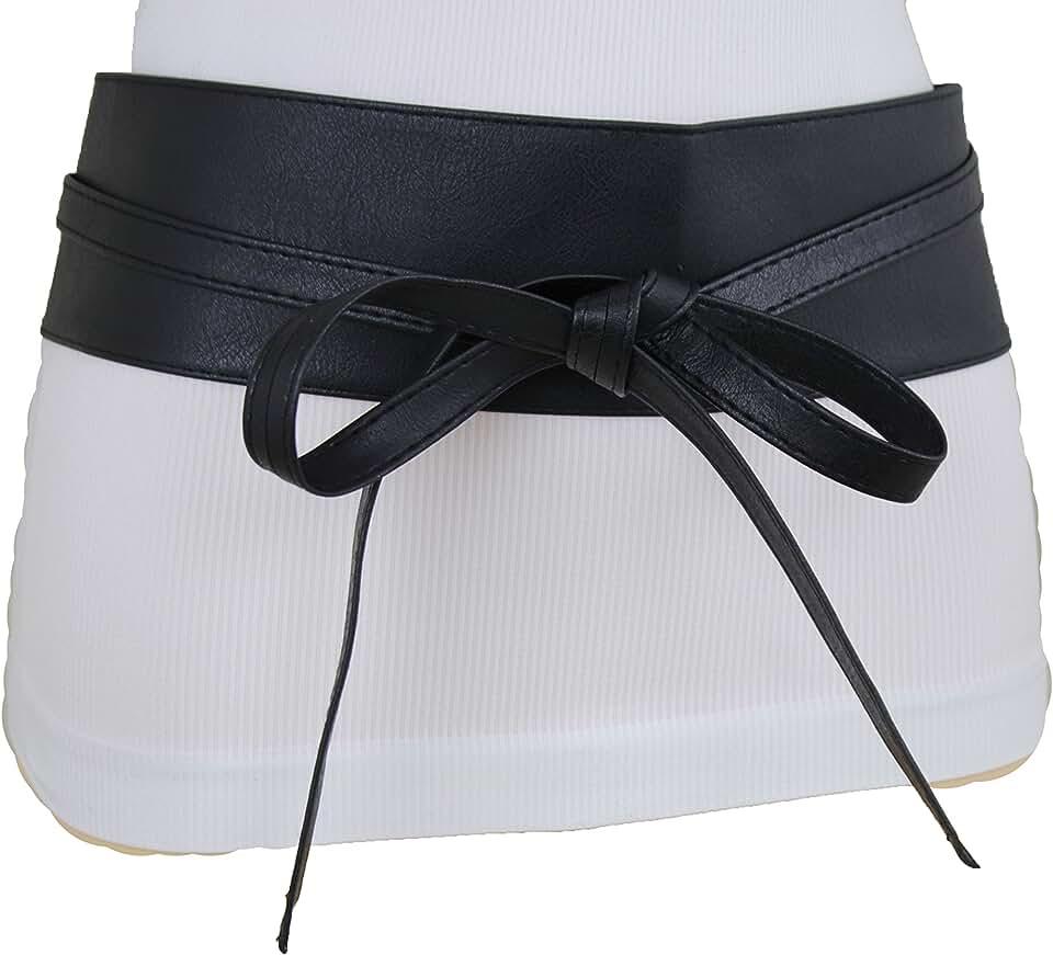 TFJ Women Fashion Wide Black Faux Leather Kimono Wrap Around Tie Belt High Waist S M