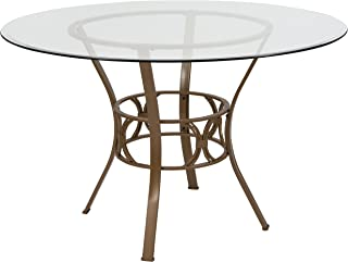 Flash Furniture Carlisle 48`` Round Glass Dining Table with Matte Gold Metal Frame