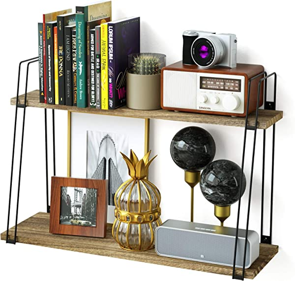 SRIWATANA Long Floating Shelves 2 Tier Rustic Wood Wall Shelves Wall Mounted Shelves With Large Capacity For Many Rooms Decor