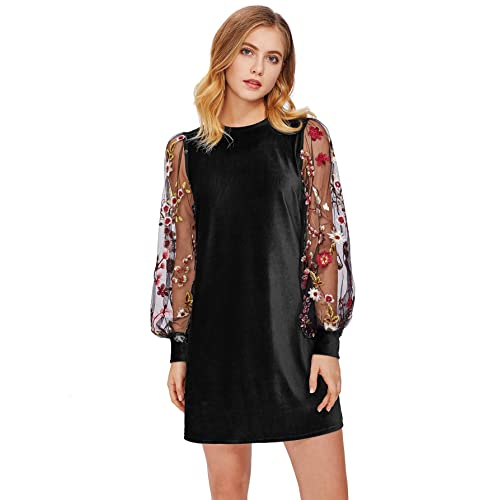 DIDK Women s Tunic Dress with Embroidered Floral Mesh Bishop Sleeve ea8b91db8