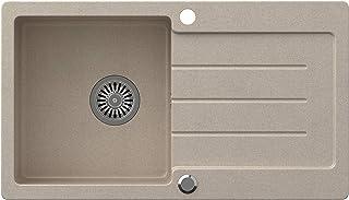 VBChome Spüle Beige 77 x 44 cm Granit Einzelbecken Einbauspüle Küchenspüle gesprenkelt reversibel Verbundspüle  Siphon