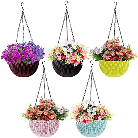 Go Hooked Plastic Hanging Pot, Multicolour, Pot Diameter -7.1 Inch, Pot Height -4.8 Inch, Pot Thickness -3 mm, Chain Length -13 inch approx., 5 Pieces