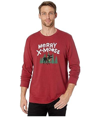 Life is Good Merry X-Moose Long Sleeve Crushertm Tee (Cranberry Red) Men